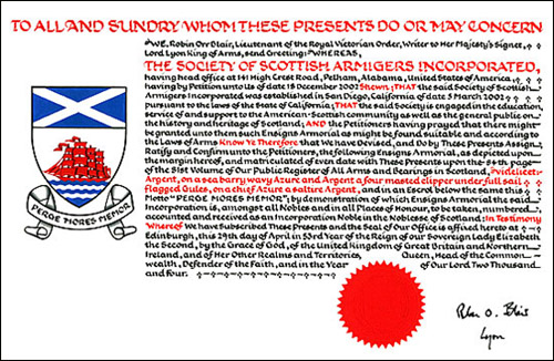 The Society of Scottish Armigers Grant of Arms - Click here for Larger Image